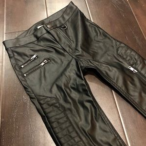 NWT Black Faux Leather Motto Pant